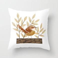 Carolina Wren Throw Pillow
