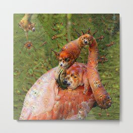 Dream Creatures, Flamingo, DeepDream Metal Print