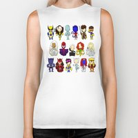 x men Biker Tanks featuring X MEN GROUP by Space Bat designs