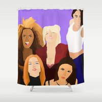 girl power Shower Curtains featuring Girl Power by Jara Montez