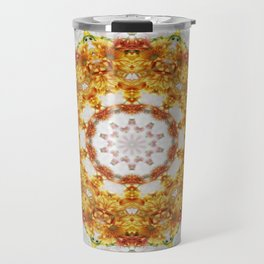 Gold Chrysanthemum Kaleidoscope Art 5 Travel Mug