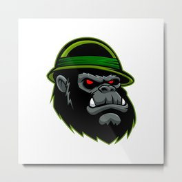 Military Gorilla Head Metal Print