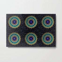 Kaleidoscope Patterns Against Black Metal Print