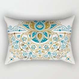 Sacred Lotus Mandala – Teal & Bronze Palette Rectangular Pillow
