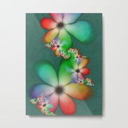 Rainbow Flowers Keeping Cool Against a Mint Wall Metal Print