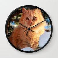 garfield Wall Clocks featuring Winter Garfield  by Lucie