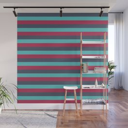 Dark Blue, Light Blue and Red Vintage Stripes Wall Mural