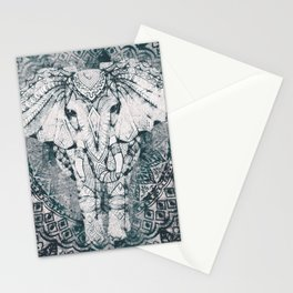 Elephant, India, Mandala, Teal, Green Stationery Cards