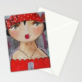 Mademoiselle Rouge aux petits pois Stationery Cards