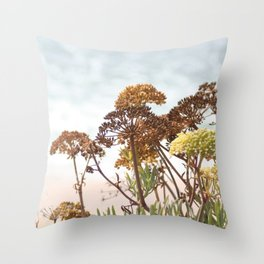 Succulent wild flowers by the sea Throw Pillow