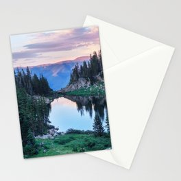 Hikers Bliss Perfect Scenic Nature View \ Mountain Lake Sunset Beautiful Backpacking Landscape Photo Stationery Cards