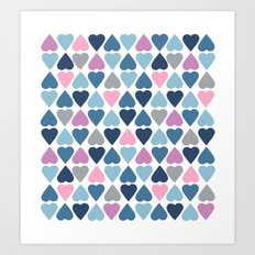 Diamond Hearts Pink Art Print