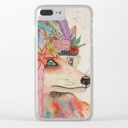 Foxy Feathers Clear iPhone Case