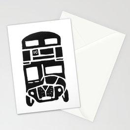 London bus linoprint Stationery Cards
