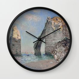 The Rock Needle and the Porte d'Aval by Claude Monet Wall Clock