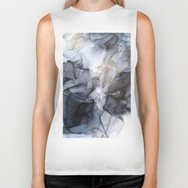 Calm but Dramatic Light Monochromatic Black & Grey Abstract Biker Tank