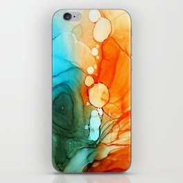 ORANGE AND BLUE ABSTRACT INKSCAPE iPhone Skin