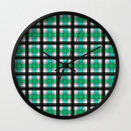 Plaid tartan green Wall Clock