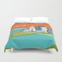 Pittsburgh, Pennsylvania - Skyline Illustration by Loose Petals Duvet Cover