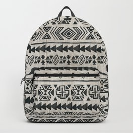 Boho Tribal Black & Cream, Geometric Print, Ink Tribal Decor Backpack