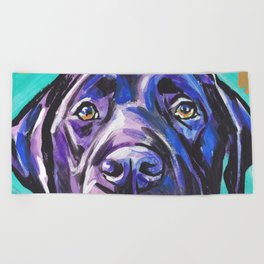 black Labrador Retriever Dog Pop Art by Lea Beach Towel