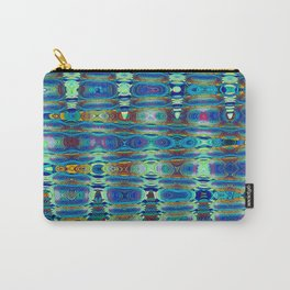 Abstract High Texture Weaving Pattern Blue Green Carry-All Pouch