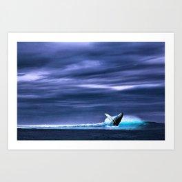 Blue whale breaking surface of ocean Art Print