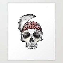 Hinged Skull with Brain Art Print