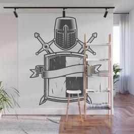 Medieval knight emblem with Crusader helmet shield swords and ribbon Wall Mural