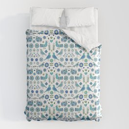 Scandi Folk Birds - blue & white Comforters