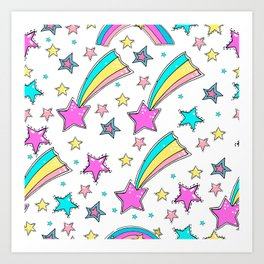 Magical  stars and comets. Cute seamless background.  Colorful pattern. Art Print
