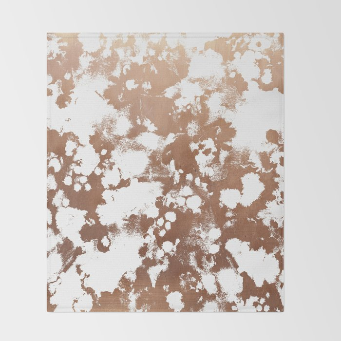 Rose Gold shiny metal sparkle modern pattern abstract rosegold trendy pattern cell phone accessories Throw Blanket