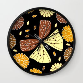Butterfly and flowers Wall Clock