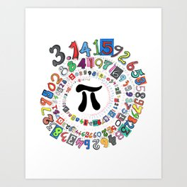 Colorful and Fun Depiction of Pi Calculated Art Print