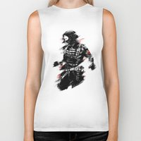 the winter soldier Biker Tanks featuring The Winter Soldier by Ashqtara