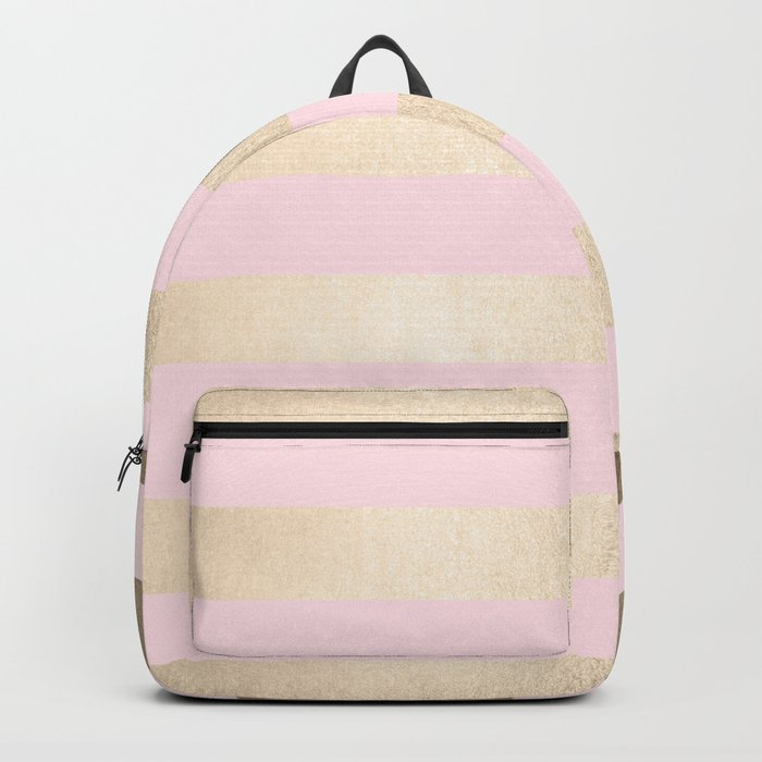 Simply Striped in White Gold Sands and Flamingo Pink Backpack