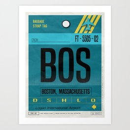 Vintage Boston Massachusetts Luggage Tag Poster Art Print