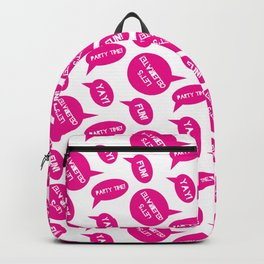 CELEBRATION PARTY TIME HOT PINK PURPLE SPEECH BUBBLES GOOD TIMES Backpack