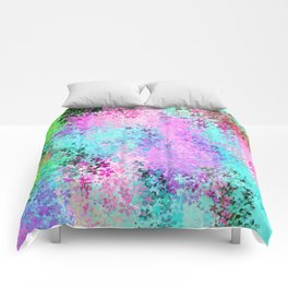 flower pattern abstract background in pink purple blue green Comforters