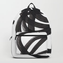 Black And White Minimalist Mid Century Abstract Ink Art Circle Swirls Black Circles Minimal Backpack