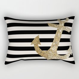 GOLD GLITTER ANCHOR IN BLACK AND NUDE Rectangular Pillow