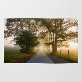 Daylight and Mist - Road with Warm Light in Great Smoky Mountains Rug