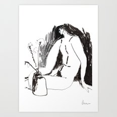 Nude male with vase and flowers Art Print