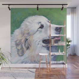 Great Pyrenees dog portrait art from an original painting by L.A.Shepard Wall Mural