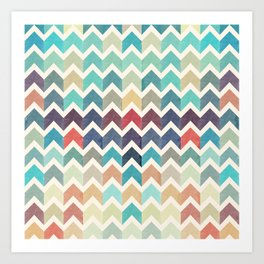Watercolor Chevron Pattern Art Print