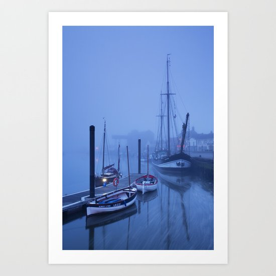 Fog over harbour and boats at dawn, Wells-next-the-sea, North Norfolk Coast, UK Art Print