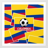 colombia Art Prints featuring Colombia Football by mailboxdisco