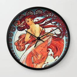 Alphonse Mucha Dance Art Nouveau Watercolor Painting Wall Clock
