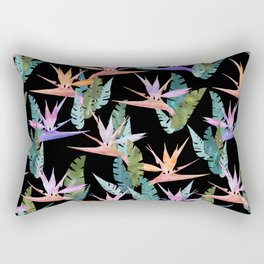 Birdie Tropical Black Rectangular Pillow