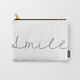 Smile Minimalist Style Handwriting Motivational Typography Design Carry-All Pouch